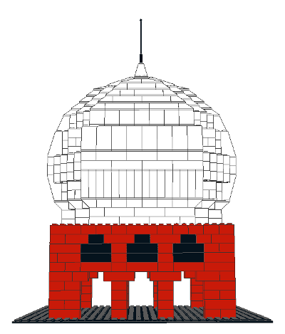 CAD model of a Mughal-inspired palace built out of Lego, with a proper Mughal onion dome