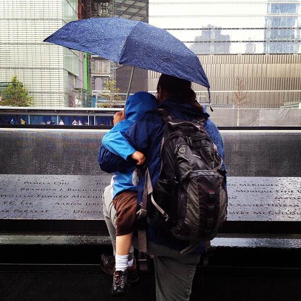 The narrator and Calvin at the 9/11 memorial