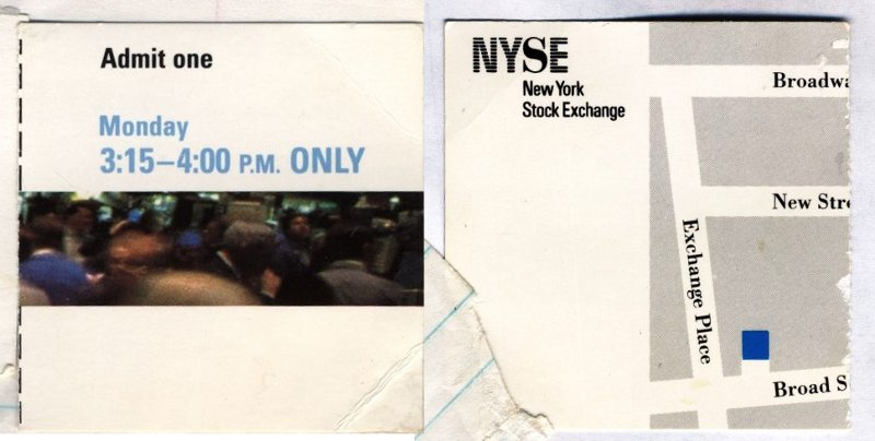 New York Stock Exchange ticket stub