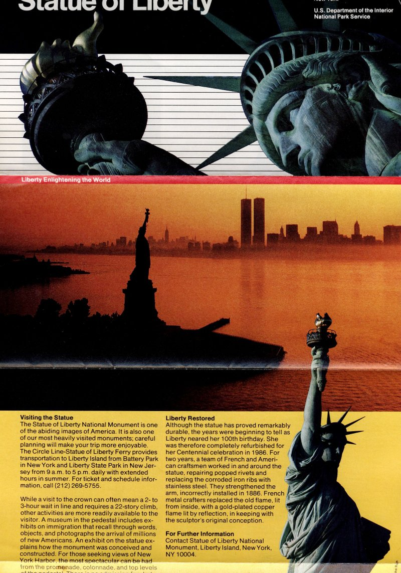 National Park Service brochure for the Statue of Liberty, 1990